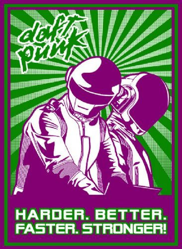 DAFT PUNK - Faster - pop art (1) canvas print - self adhesive poster - photo print